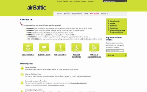 Screenshot of Contact Page airbaltic.com - Contact Us | We Welcome Feedback | airBaltic - captured Sept. 18, 2014