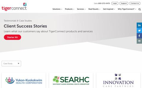 Screenshot of Case Studies Page tigerconnect.com - Client Success: Testimonials and Case Studies | TigerConnect - captured Sept. 12, 2019