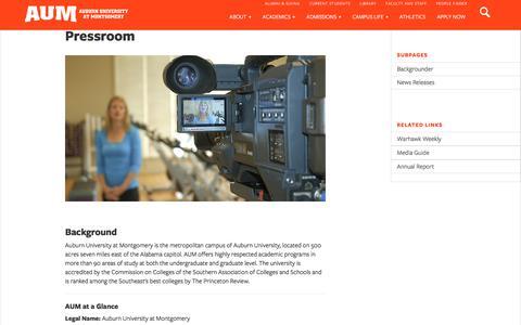 Screenshot of Press Page aum.edu - Pressroom | AUM - captured Aug. 27, 2016