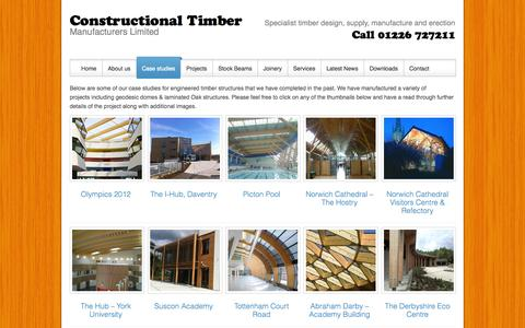 Screenshot of Case Studies Page constructionaltimber.com - engineered timber by Constructional TimberConstructional Timber - captured Oct. 2, 2014