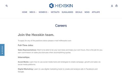 Screenshot of Jobs Page hexskin.com - Careers with Hexskin - captured July 19, 2018