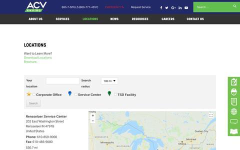 Screenshot of Locations Page acvenviro.com - Locations | ACV Enviro - captured July 5, 2018
