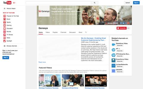 Screenshot of YouTube Page youtube.com - Genesys  - YouTube - captured Oct. 22, 2014