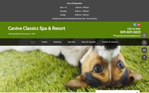 Screenshot of Home Page k9classics.com - Pet Spa - home - Bloomington, IL - Canine Classics Spa & Resort - captured Sept. 26, 2018