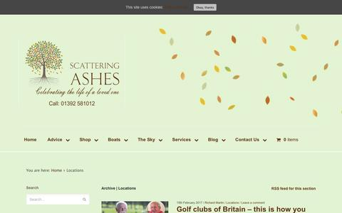 Screenshot of Locations Page scattering-ashes.co.uk - Locations Archives - Scattering Ashes - captured May 26, 2017