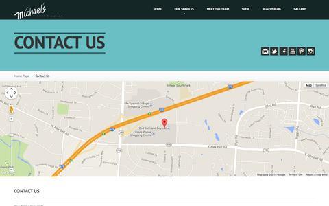 Screenshot of Contact Page michaelssalon.com - Contact Us   Michael's Salon & Spa - captured Nov. 3, 2014