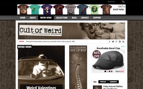 Screenshot of Press Page cultofweird.com - Weird News on Cult of Weird - captured July 23, 2018