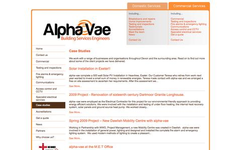 Screenshot of Case Studies Page alphavae.co.uk - Case Studies from a range of businesses and organisations throughout Devon and the surrounding area - captured Oct. 4, 2014