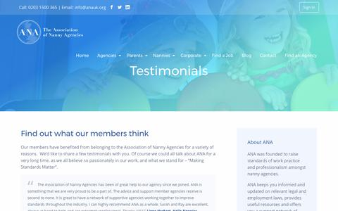 Screenshot of Testimonials Page anauk.org - Testimonials - ANAUK - captured Oct. 9, 2017