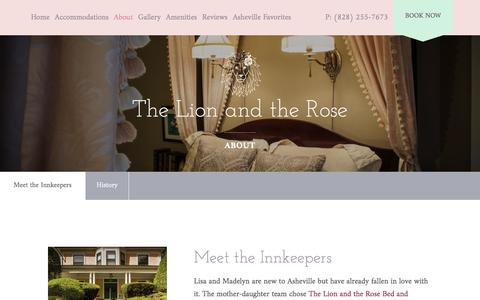 Screenshot of About Page lion-rose.com - About The Lion and The Rose   Asheville Bed & Breakfast - captured July 2, 2018