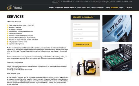 Screenshot of Services Page theforkliftcompany.net - Services - The Forklift Company - captured Nov. 16, 2017
