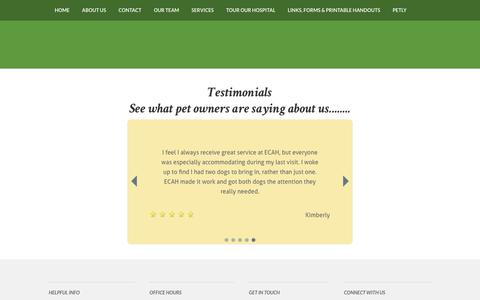 Screenshot of Testimonials Page eauclaireanimalhospital.com - Testimonials - captured Oct. 25, 2018