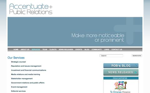 Screenshot of Services Page accentuatepr.co.nz - Services, Accentuate PR - captured Oct. 4, 2014