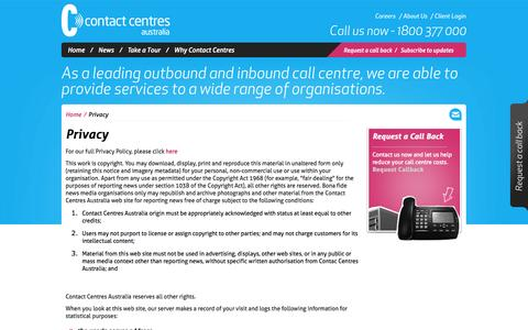 Screenshot of Privacy Page contactcentres.com.au - Privacy | Contact Centres Australia - captured Oct. 1, 2014