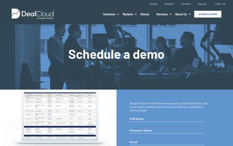 Screenshot of Contact Page dealcloud.com - Schedule A Demo — DealCloud - captured Aug. 18, 2019