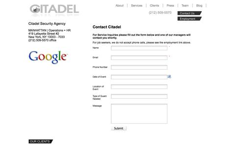 Screenshot of Contact Page citadelsecurityagency.com - Contact Us   Citadel Security Agency - captured Sept. 29, 2014
