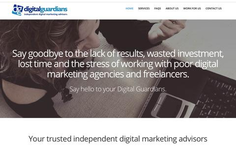 Screenshot of Home Page digital-guardians.com - Independent Digital Marketing Advisors - captured Sept. 22, 2018