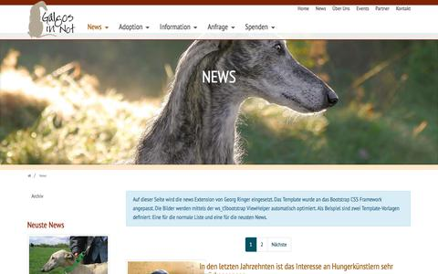 Screenshot of Press Page galgos-in-not.de - News: Galgos-in-Not e.V. - captured June 27, 2018