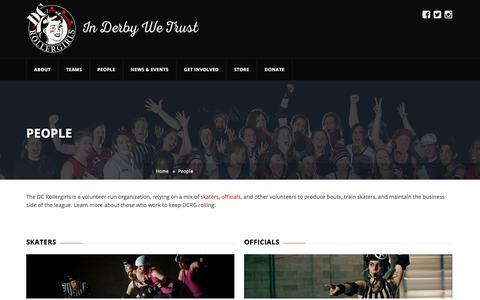 Screenshot of Team Page dcrollergirls.com - People – DC Rollergirls - captured Aug. 5, 2018