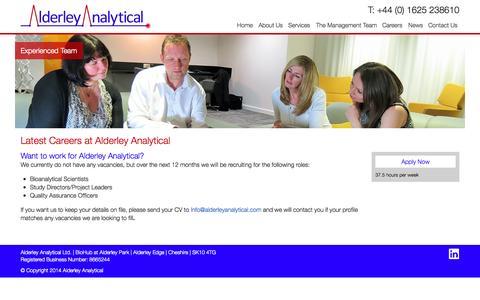 Screenshot of Jobs Page alderleyanalytical.com - Careers Archive » Alderley Analytical - captured Sept. 30, 2014