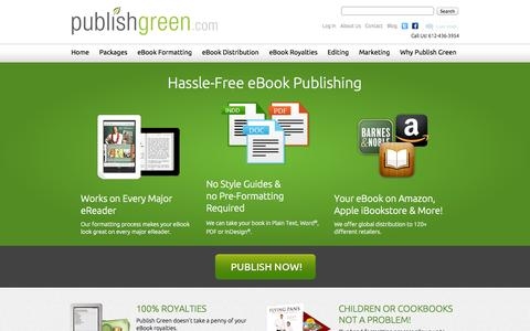 Screenshot of Home Page publishgreen.com - eBook Publishing and eBook Distribution by Publish Green - captured Jan. 26, 2015