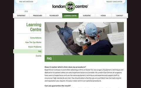 Screenshot of FAQ Page lasereye.com - FAQ | London Eye Centre - captured Sept. 23, 2018