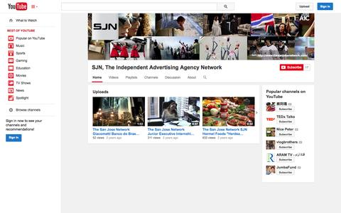Screenshot of YouTube Page youtube.com - SJN, The Independent Advertising Agency Network  - YouTube - captured Oct. 23, 2014