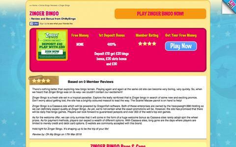 Screenshot of ohmybingo.com - Zinger Bingo | 400% First Deposit Bonus | Join Now - captured March 19, 2016