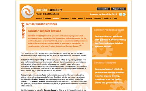 Screenshot of Support Page corridorcompany.com - SharePoint Support for Intranets, Public Sites, Architecture, Infrastructure and Development | Corridor Company - captured Oct. 3, 2014