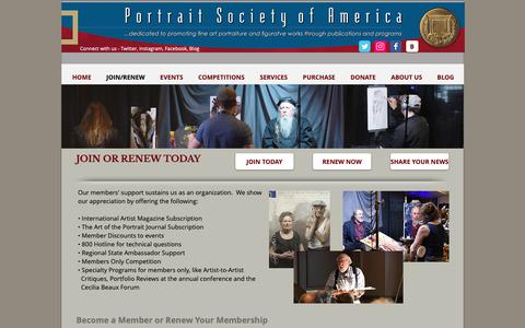 Screenshot of Signup Page portraitsociety.org - Portrait Society of America | JOIN/RENEW - captured Oct. 18, 2018