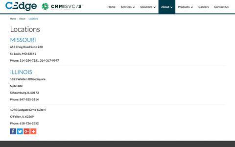 Screenshot of Locations Page cedgecorp.com - Locations - captured Sept. 25, 2018