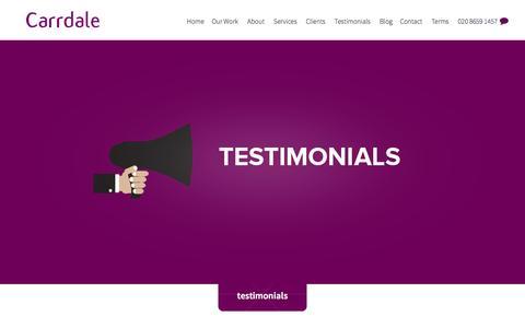 Screenshot of Testimonials Page carrdale.com - testimonials - captured Dec. 14, 2015