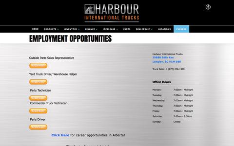 Screenshot of Jobs Page harbourint.ca - Harbour International Trucks | Inventory for sale in Langley, BC V1M 0B8 - captured July 16, 2017