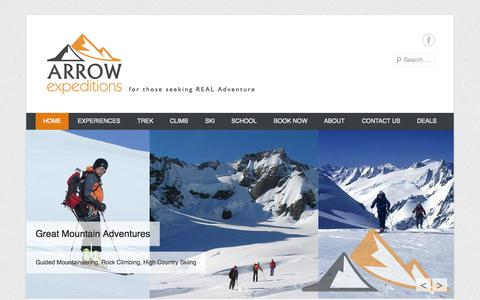 Screenshot of Home Page Menu Page arrowexpeditionsqueenstown.co.nz - Rock climbing Queenstown, Hiking and Abseiling | Arrow Expeditions - captured Oct. 4, 2014