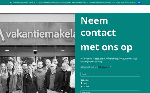 Screenshot of Contact Page vakantiemakelaar.nl - Contact - Vakantiemakelaar - captured Sept. 21, 2018