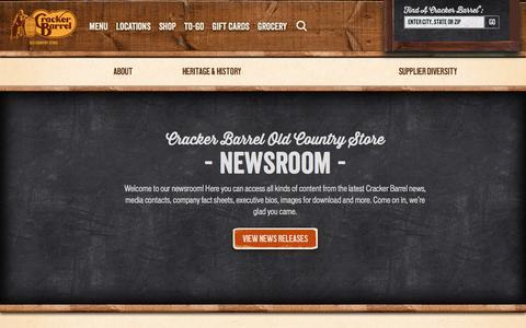 Screenshot of Press Page crackerbarrel.com - Browse Press Information in our Newsroom | Cracker Barrel - captured May 22, 2017