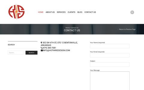 Screenshot of Contact Page hotwiredesign.com - Contact Us | Hotwire Design - captured Feb. 1, 2016