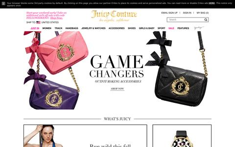 Screenshot of Home Page juicycouture.com - Juicy Couture | Women's Designer Clothing & Handbags - captured Oct. 1, 2015