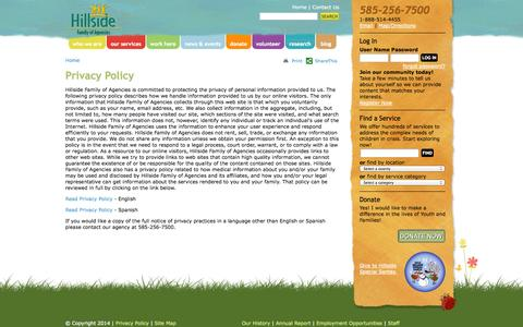 Screenshot of Privacy Page hillside.com - Hillside Privacy Policy - captured Nov. 4, 2014