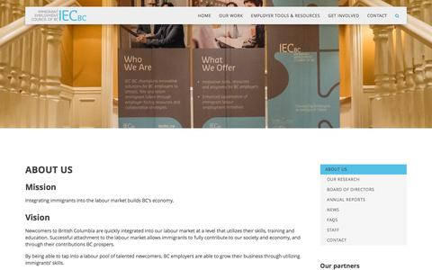 Screenshot of About Page iecbc.ca - IECBC - Immigrant Employment Council of B.C. - Connecting Employers to Immigrant Talent - captured Nov. 18, 2016