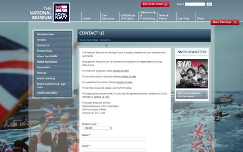 Screenshot of Contact Page nmrn.org.uk - Contact Us | National Museum of the Royal Navy - captured Oct. 23, 2017