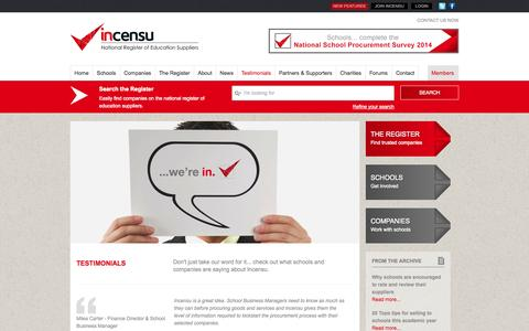 Screenshot of Testimonials Page incensu.co.uk - Testimonials - see what people are saying about Incensu - captured Sept. 30, 2014