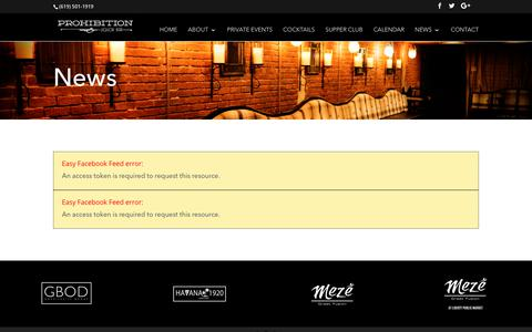 Screenshot of Press Page prohibitionsd.com - News - Speakeasy in San Diego's Gaslamp | Live Music Every Night - captured Sept. 30, 2018