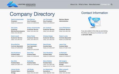 Screenshot of Contact Page laiweb.net - Contact Us - Contact Lighting Associates, Inc. - captured Jan. 29, 2016