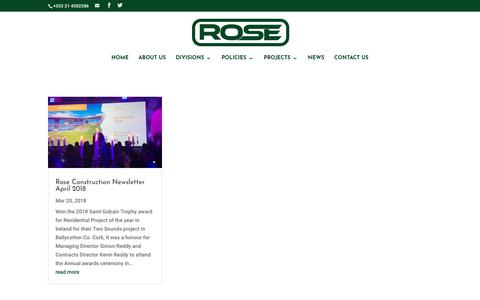 Screenshot of Press Page roseconstruction.ie - NEWS - Rose Construction - captured Sept. 21, 2018