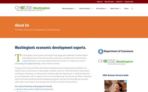 Screenshot of About Page choosewashingtonstate.com - About Commerce's Office of Economic Development & Competitiveness - captured Dec. 2, 2017