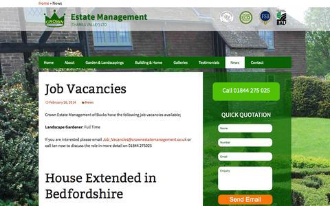 Screenshot of Press Page crownestatemanagement.co.uk - News | Crown Estate Management - captured Oct. 28, 2014