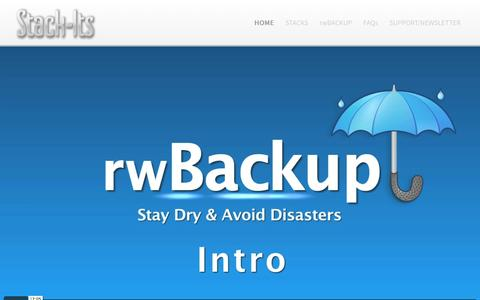 Screenshot of Home Page stack-its.com - Stack-Its Stacks for RapidWeaver - captured June 21, 2016