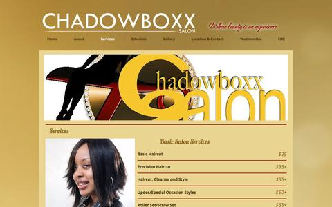 Screenshot of Services Page hairbycharlisa.com - Services - captured Dec. 3, 2016