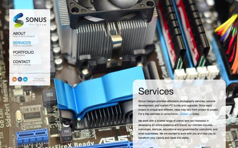 Screenshot of Services Page sonusdesigns.com - Services | Sonus Designs - captured Sept. 26, 2014